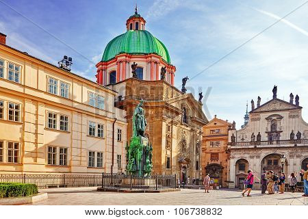 Prague,czech Republic-september 13, 2015: Saint Francis Of Assisi Church Square In Prague.czech Repu