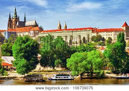 Prague,czech Republic- September 12, 2015: View Of Prague Castle And Charles Bridge-famous Historic