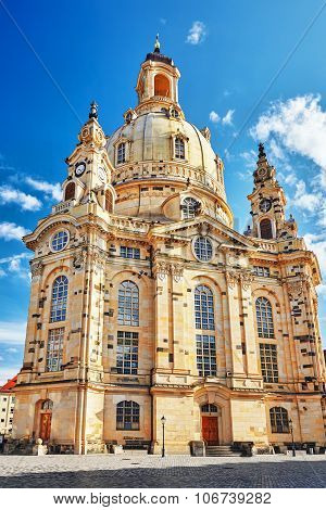Dresden Frauenkirche (church Of Our Lady) Is A Lutheran Church In Dresden. Saxony, Germany.