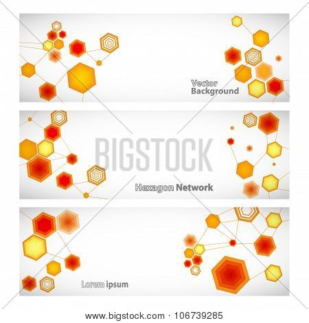 Three Vector Banner With Abstract Orange Linked Hexagons