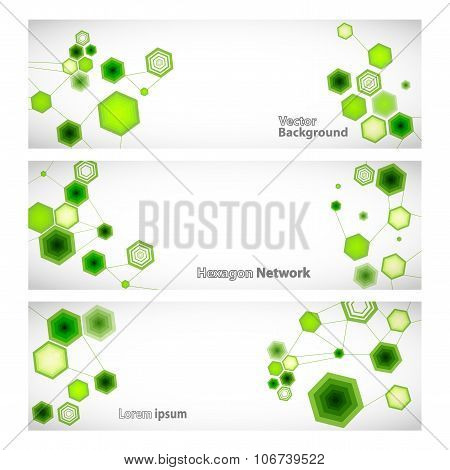Three Vector Banner With Abstract Green Linked Hexagons