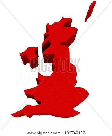 UK United Kingdom England Great Britain as a red 3d illustrated abstract map in Europe