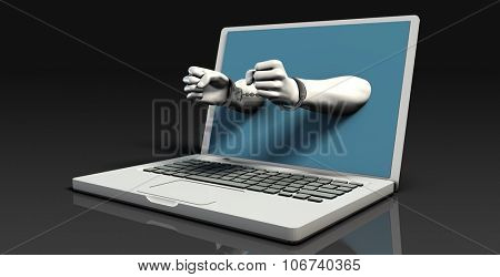 Digital Crime and Fraud Online with Laptop Handcuffs