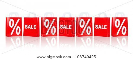 sale, consumerism, discount, advertisement and retail concept - many red shopping bags with percentage sign
