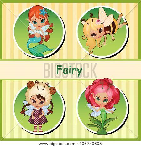 Four cute fairies - mermaid, bee, lamb and flower