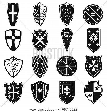 Shields icons. Shields icons set. Shields silhouettes. Shields icons vector. Shields silhouettes collection. Shields signs. Shields symbols. Shields icons black