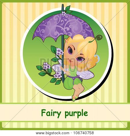Fairy purple - cute girl illustration closeup