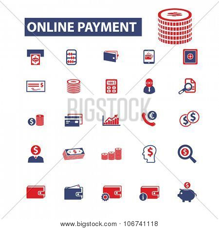 online payment, money, banking icons, signs vector concept set for infographics, mobile, website
