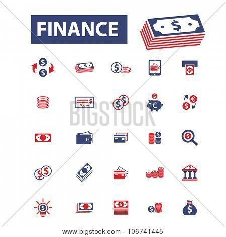 finance, banking, money, investment icons, signs vector concept set for infographics, mobile, website
