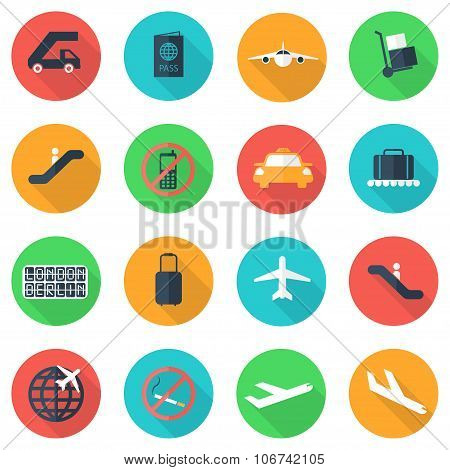 Vector Flat Airport Icons Set