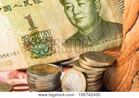 Money One Yuan Bill Coins