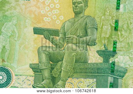 20 Thai Bath Money Notes Background Closeup