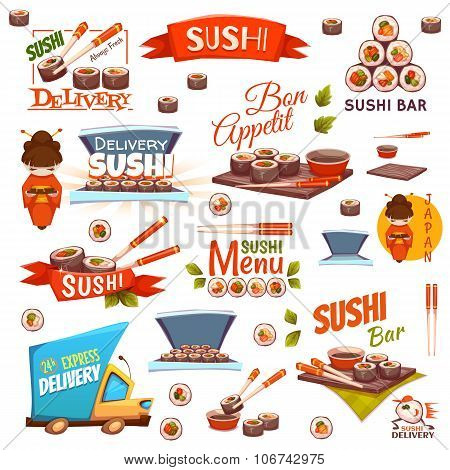 Vector set with sushi banners, icons, logo and illustrations