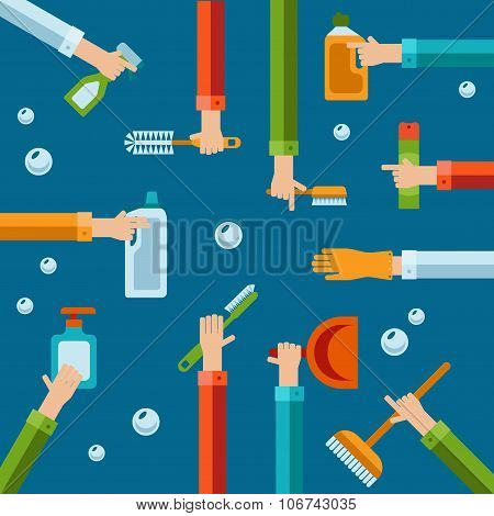Vector Human Hands Using Cleaning Products Flat Icons.