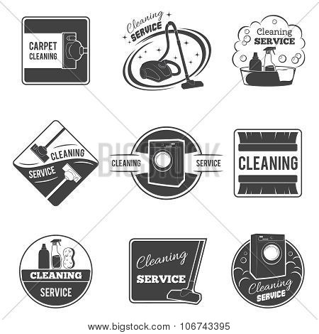 Vintage cleaning service vector logos, emblems, labels set