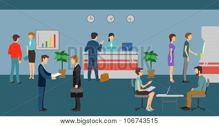 Bank staff and clients in office interior. Vector finance management concept background flat design