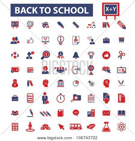 back to school, teacher, mathematics, literature, pupil, lessons icons, signs vector concept set for infographics, mobile, website