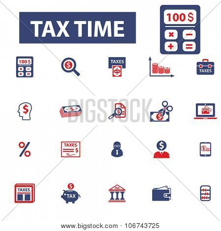 tax time, accounting, calculator icons, signs vector concept set for infographics, mobile, website