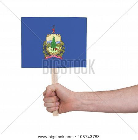 Hand Holding Small Card - Flag Of Vermont