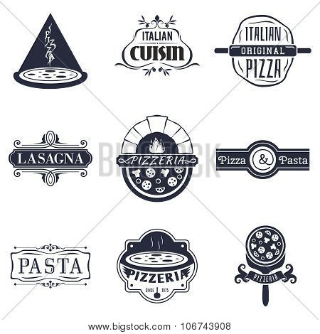Retro italian cuisine restaurant labels, logos and emblems vector set