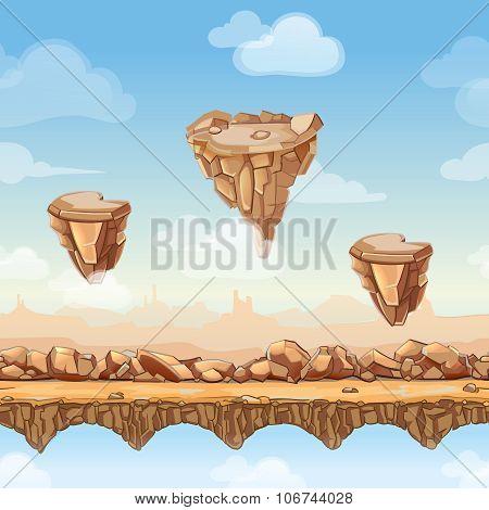 Seamless cartoon nature landscape with stones, rocks and bridges for game design. Vector illustratio