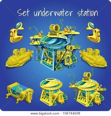 Set station underwater, submarine, motorcycle