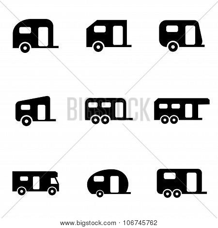 Vector Black Trailer Icon Set