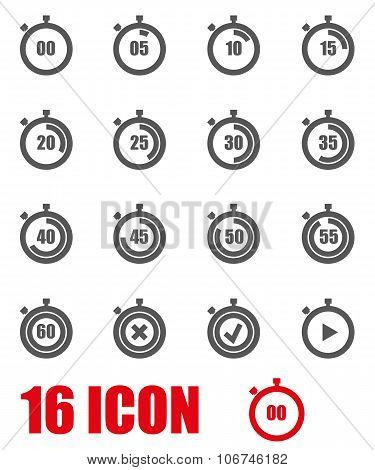 Vector Grey Stopwatch Icon Set