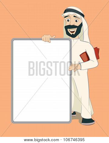 Arab businessman holding empty white banner. Vector cartoon character