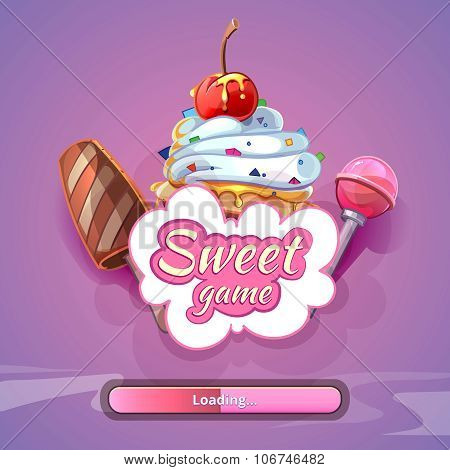 Candy world game vector background with title name