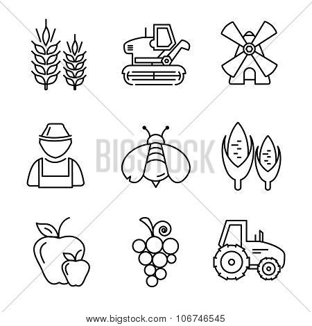 Farm line vector icons set