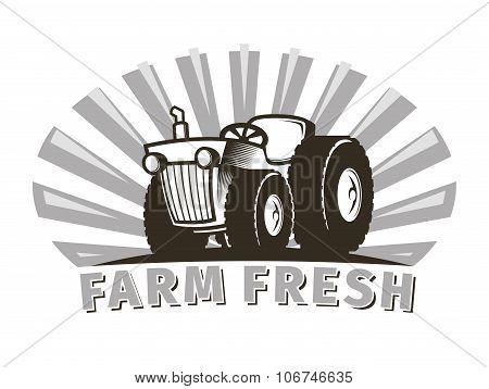 Tractor Vector Emblem Design Template