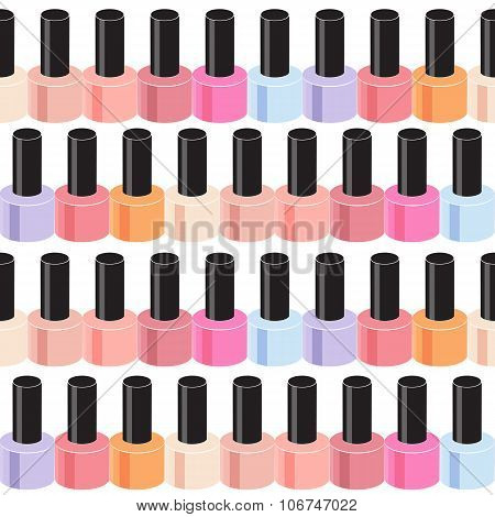 Realistic Nail Polish Seamless Pattern Background Vector Illustr