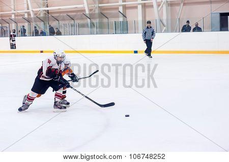 Children play ice-hockey