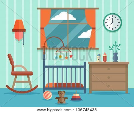 Child room for the newborn baby. Vector flat design
