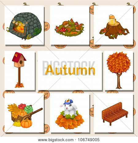 Autumn icons set, different symbols