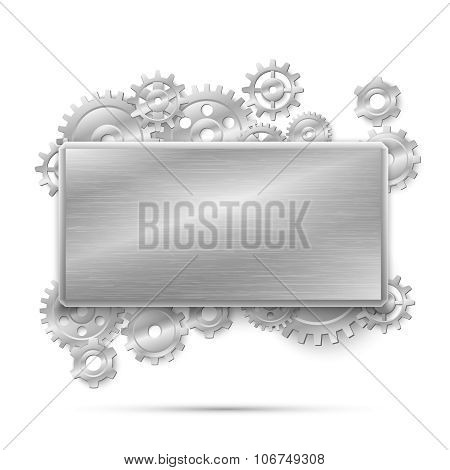 Mechanical steampunk concept vector illustration. Banner with metal gears