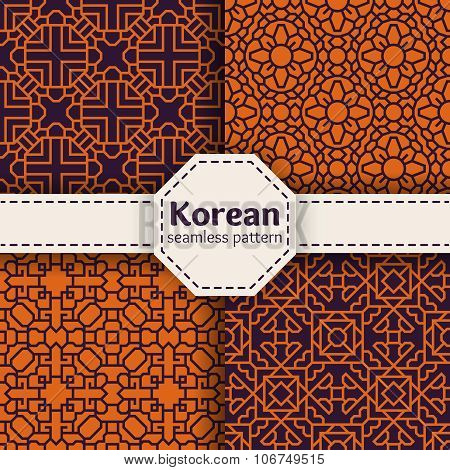 Korean or Chinese tradition vector seamless patterns set