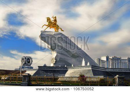 Ashgabat, Turkmenistan - October 20, 2015. Monument To President Of Turkmenistan Gurbanguly Berdimuh