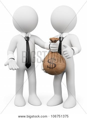 3D White People. Loan Concept. Business Metaphor