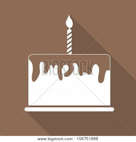 Birthday Cake Flat Web Icon Vector Illustration