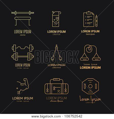 Bodybuilding Logo Set
