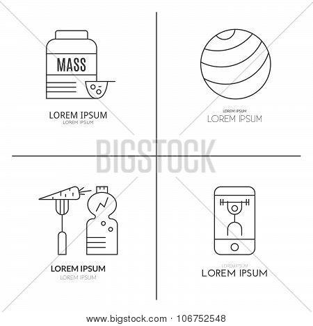 Bodybuilding Logo Set