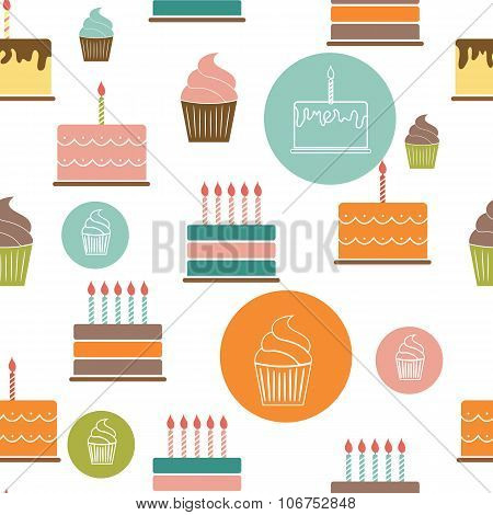 Birthday Cake Flat Seamless Pattern Background Vector Illustrati