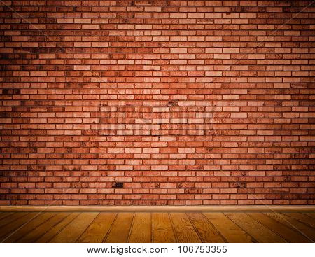 Brick Wall And Wooden Floor Background.