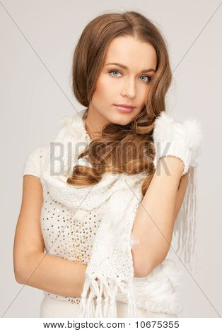 Beautiful Woman In White Gloves