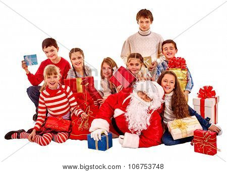 Santa Claus with a group of children holding gift box on isolated