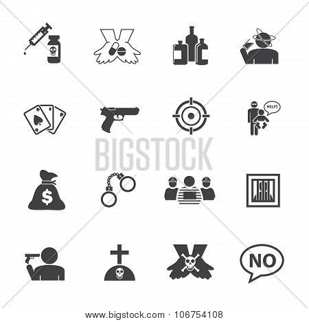 Just say NO. Simple Drug and Crime Icons set.