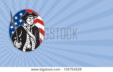 Business Card American Patriot Minuteman With Bayonet Rifle And Flag