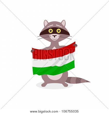 Raccoon And Flag Hungary